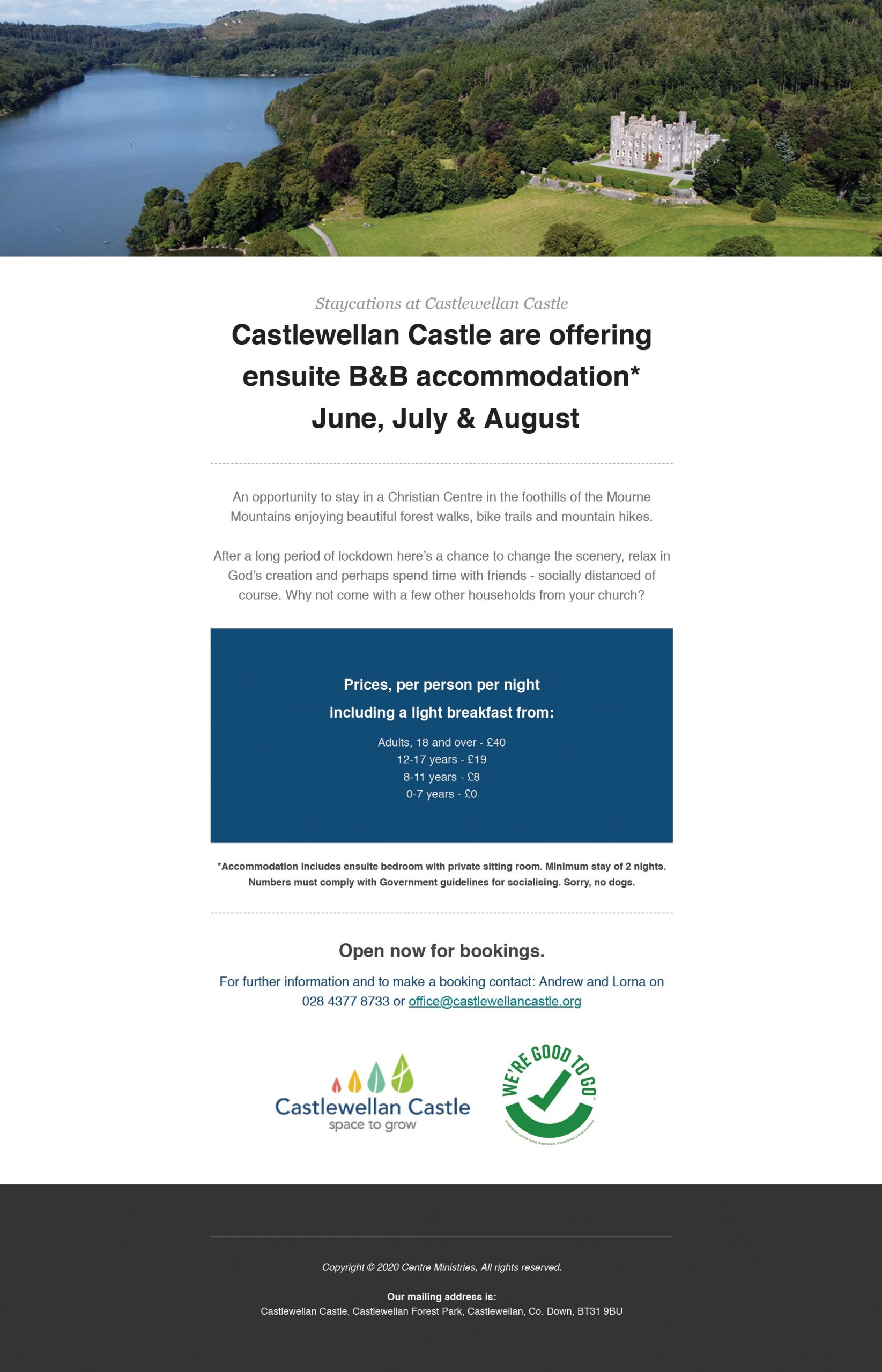 B&B stays at Castlewellan Castle This June July & August